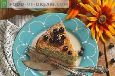 Manniks ar magoņu par kefīru - vienkāršs un garšīgs kūka