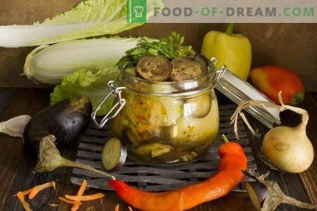 Gemüseplatte mit gefüllten Paprikaschoten mit Auberginen für den Winter