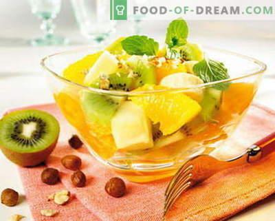 Augļu salāti - labākās receptes. Kā pareizi un garšīgi sagatavot augļu salātus.