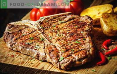 Kā cept steiku, lai padarītu to perfektu. Cik daudz apcep to pannā, grilā vai kokogles, marinēti gurķi un mērces tam