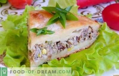 O plăcintă sărată cu saurie - alta, alta, încă o bucată! Rețete pentru prăjituri asomare cu sauri și legume, cereale, ouă
