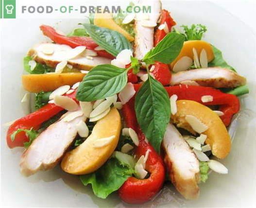 Салата от български пипер с пиле - най-добрите рецепти. Как да правилно и вкусно да се подготви салата с чушки и пиле.