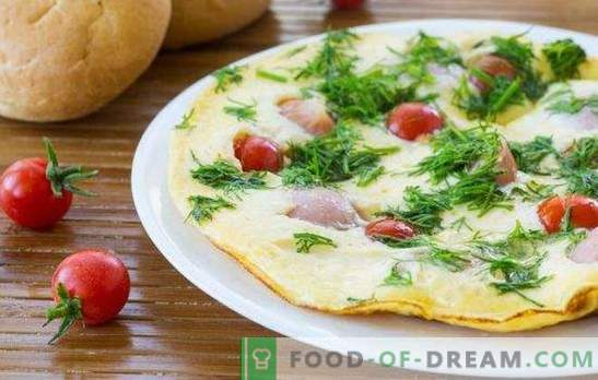 Omlet s klobasami - preprost in bogat zajtrk! Kuhanje okusnih omletov s klobasami v pečici, mikrovalovni pečici, večnamenski kuhalnik in ponev