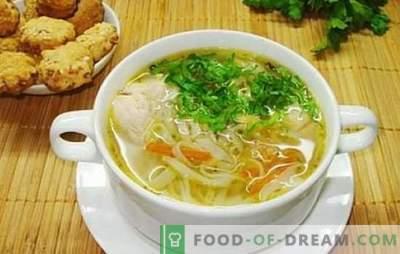 Soupe de nouilles parfumée au poulet: étape par étape. Il est facile et simple de cuisiner une soupe au poulet et aux nouilles avec des recettes éprouvées étape par étape: vérifier?