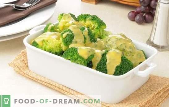 Brócolis em molho cremoso com noz-moscada, queijo, cogumelos. Receitas cozidas e assadas de brócolis em molho de creme