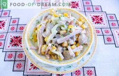 Salāti ar šampinjoniem un šķiņķi - klasiskie svētku galdi. Receptes šampinjoniem un šķiņķa salātiem: vieglas un barojošas