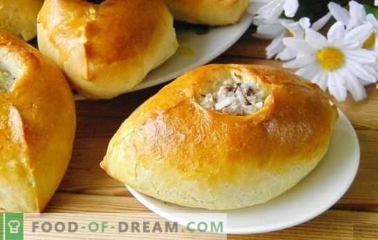 Rīsu pīrāgi - garšīgi krievu konditorejas izstrādājumi. Receptes pīrāgiem ar rīsiem, zaļajiem sīpoliem, zivīm, malto gaļu un sēnēm