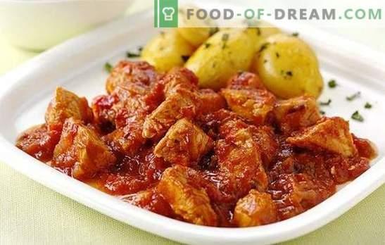 Multicooker sautējums ir viena no iecienītākajām receptēm. Ēdieni no liellopu gaļas, cūkgaļas, vistas, truša: vāra uz lēnas plītis