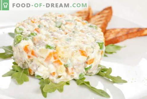 Vistas Olivier - labākās receptes. Kā pareizi un garšīgi pagatavot vistas salātus.