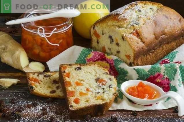 Gâteau au gingembre avec raisins secs et confiture de carottes