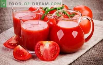 Tomatimahla valmistamine kodus: loomulik, köögiviljade, õunte või vürtsidega. Meetodid tomatimahla tegemiseks kodus talvel