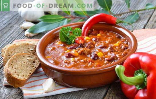 Meksikas zupa - vakariņas būs oriģinālas! Dažādu Meksikas zupu receptes: ar kukurūzu, pupiņām, malto gaļu, vistas gaļu, rīsiem