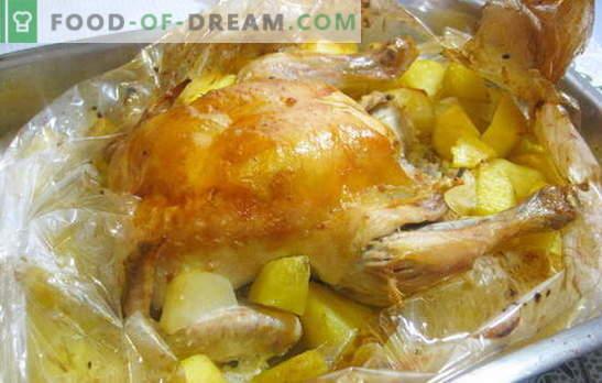 Vistas gaļa ar kartupeļiem krāsnī ir ļoti viegli! Vistas receptes piedurknē ar kartupeļiem cepeškrāsnī un veseliem gabaliņiem