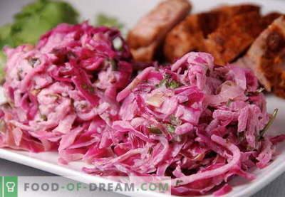Red Cabbage Salad - labākās receptes. Kā pareizi un garšīgi sagatavot sarkano kāpostu salātus.
