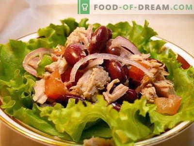 Pupiņu salāti - labākās receptes. Kā pareizi un garšīgi pagatavoti salāti ar pupiņām.