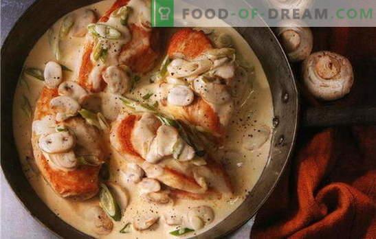 Labākās vistas filejas receptes krējuma mērcē. Kā gatavot vistas fileju krējuma mērcē pannā un krāsnī
