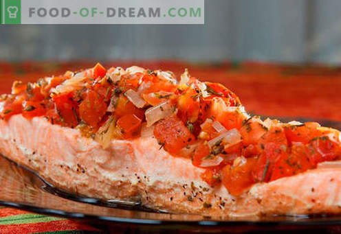 Gebakken zalm in de oven - de beste recepten. Hoe goed en smakelijk koken zalm, gebakken in de oven.