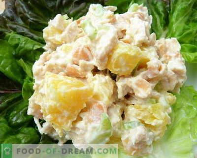 Vištienos, ananasų ir grybų salotos yra geriausi receptai. Kaip tinkamai ir skaniai paruošti salotą su vištiena, ananasais ir grybais