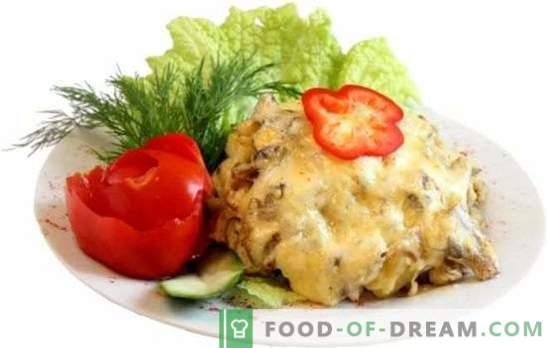 Carne de porc sub blană în cuptor: cu cartofi, varză, castraveți, ananas. Gătit carne de porc moale, suculentă într-un strat de diferite produse