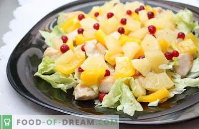 Salāti ar ananāsu un vistu - labākās receptes. Kā pareizi un garšīgi sagatavot salātus ar vistas un ananāsu.