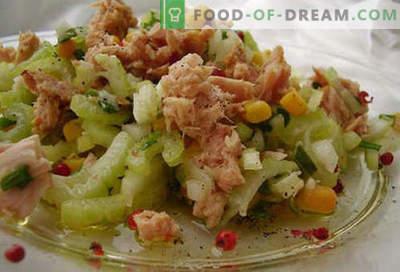 Салата од конзервирана туна - докажани рецепти. Како да се готви салата од конзервирана туна.