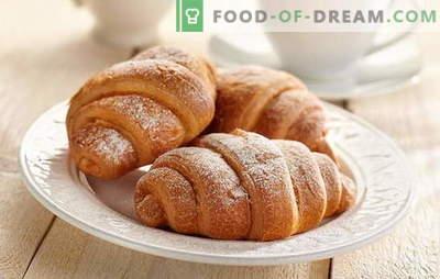 Croissanti ar kondensētu pienu - tik garšīgi! Kruasāni ar kondensēta piena receptēm: no rauga, īsceļa, biezpiena mīklas