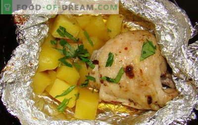 Pollo con patate al forno in carta stagnola - nuove ricette. Come cucinare il pollo con le patate al forno nella lamina