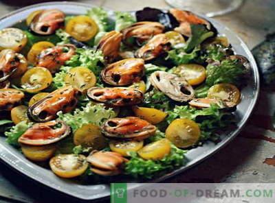 Mussel salāti - labākās receptes. Kā pareizi un garšīgi gatavot gliemju salātus.