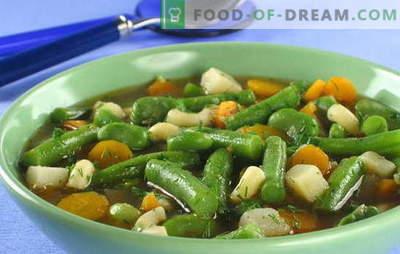 Zaļo pupiņu zupa - krāsu un priekšrocību nemieri katrā plāksnē. Oriģinālas un pārbaudītas receptes pupiņu pupa zupai