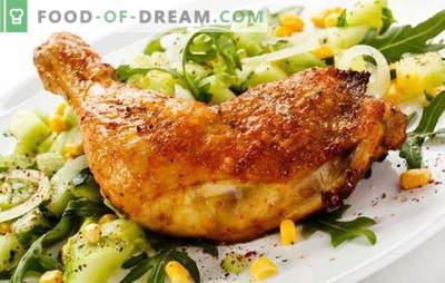 Ceptas vistas kājas pannā - klasisks veids, kā pagatavot gaļu. Ceptu vistas kāju receptes pannā ar ķiplokiem, tomātiem