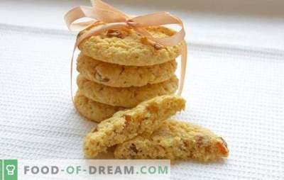 Mīksti auzu cepumi - receptes un triki. Kā cept mīkstu auzu cepumus ar medu, riekstiem, apelsīnu, āboliem, biezpienu