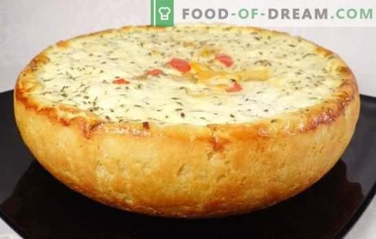 Kartupeļu pīrāgs lēni plīts - sēnes, dārzeņi, gaļa, vistas, siers, liesa. Labākās receptes kartupeļu pīrāgam lēnā plītī