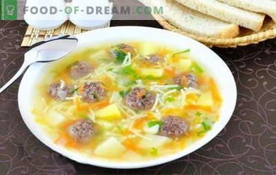 Liha lihapallide ja nuudlitega - maitsva lõuna tegemine on lihtne! Parimad retseptid suppide ja nuudlitega