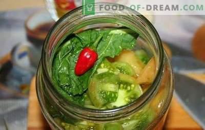 Uzkodas no zaļajiem tomātiem ziemai - svaiga, garšīga, spilgta, neparasta. Labākās receptes gardām uzkodām no zaļajiem tomātiem ziemai