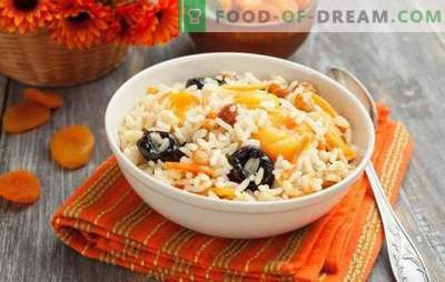 Pilaf with prunes - an oriental treat. Variations of pilaf with prunes and dried apricots, pilaf with prunes, dried apricots and raisins