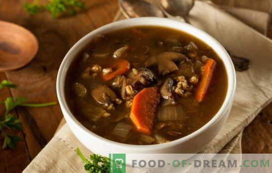 Lean zupa ar sēnēm - ļaujiet tai vienmēr būt garšīgi! Dažādas receptes liesām zupām ar sēnēm un graudaugiem, nūdelēm, dārzeņiem