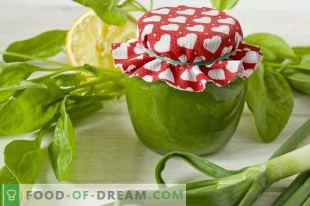 Spinat- und Frühlingszwiebelpüree für den Winter