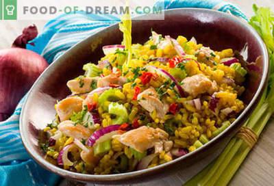 Rīsu salāti - piecas labākās receptes. Kā pareizi un garšīgi gatavot rīsu salātus.