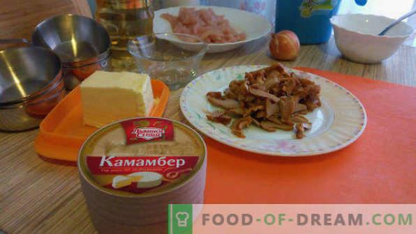 Satriecošs mājās gatavots juliens ar vistu un sēnēm, receptes kokosos, podos, cepešpannās