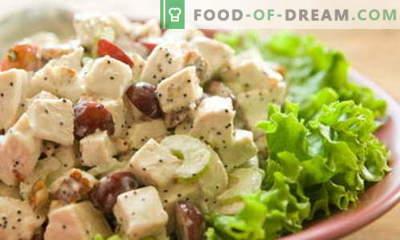 Salāti ar vistu un vīnogām - labākās receptes. Kā pareizi un garšīgi sagatavot vistas salātus ar vīnogām.