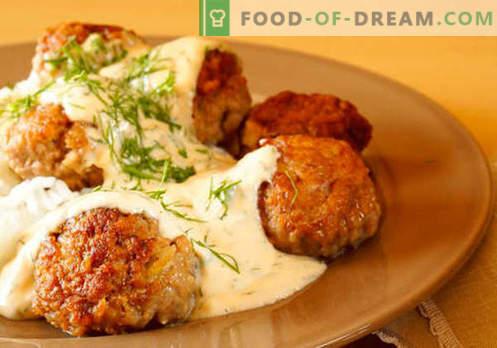 Makaronu, rīsu, kartupeļu biezeni, gaļas bumbiņas - labākās receptes. Gatavojot pareizi gaļu, tomātus, sēnes, vistas mērci.