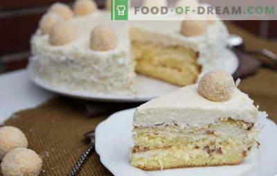 Amazing Raffaello kūka: receptes mājās. Visi Raffaello kūka mājās noslēpumi un smalkums