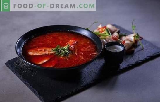 Rdeči boršč: recepti za najsvetlejšo večerjo po korakih. Kuhanje mesa in vegetarijanski rdeči boršč za recepte po korakih