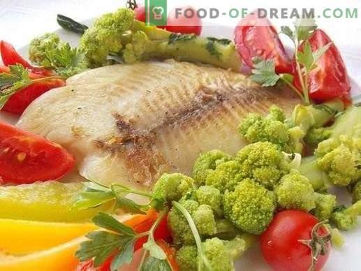 Cepta jūras basa fileja ar dārzeņiem