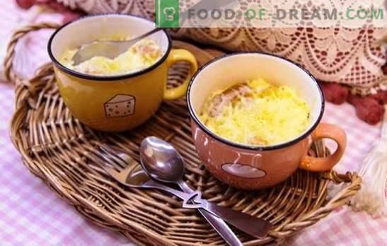 Mikroviļņu cepta olas: pavāri ātri. Ceptas olas mikroviļņu krāsnī ar desu, desām, dārzeņiem, sēnēm