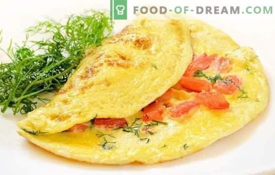 Omlete ar tomātiem: tradicionālās brokastis. Bagātie un diētiskie omletes ar tomātiem, sieru, sēnēm, šķiņķi, Pitu