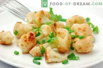 Ziedkāposts krāsnī - labākās receptes. Kā pareizi un garšīgi gatavot krāsnī ziedkāposti.