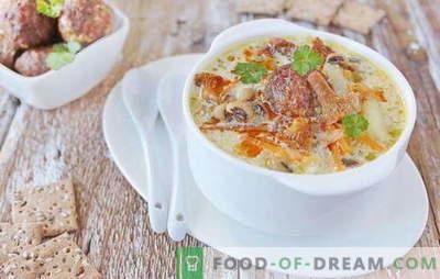 Zupa ar gaļas bumbiņām - bauda prieku! Dažādas zupu receptes ar kotletes un pupiņām, nūdelēm, sēnēm, dārzeņiem