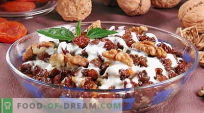 Salāti ar riekstiem - labākās receptes. Kā pareizi un garšīgi sagatavot salātus ar riekstiem.