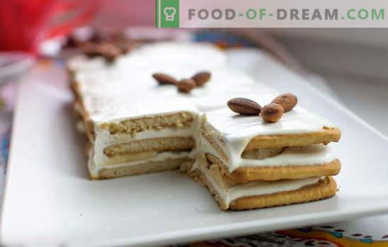 Cake bez cepumu cepšanas un skābo krējuma 15 minūšu laikā! Kūku receptes bez cepšanas cepumiem un krējuma ar šokolādi, banāniem, riekstiem